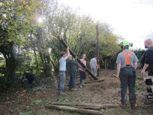 Hugo, Andreas and Geoff Struggling to erect the corner posts